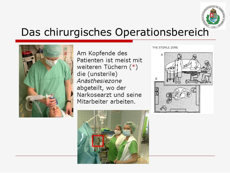 Das chirurgisches Operationsbereich Am Kopfende des Patienten ist meist mit weiteren Tüchern (*) die (unsterile) Anästhesiezone abgeteilt, wo der Nark