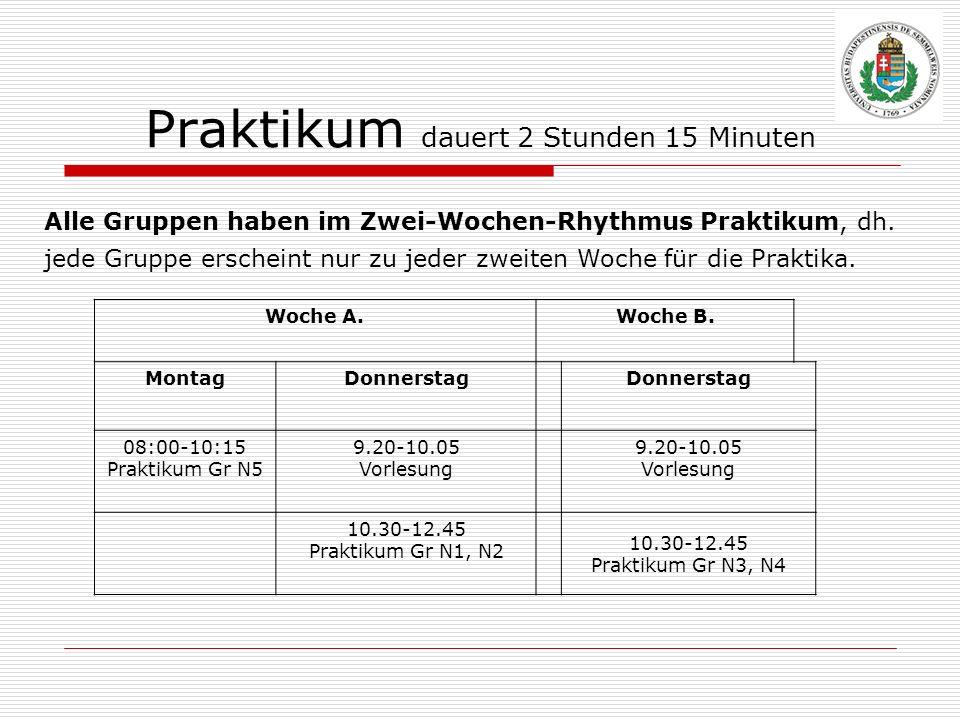 Praktikum dauert 2 Stunden 15 Minuten Alle Gruppen haben im Zwei-Wochen-Rhythmus Praktikum, dh. jede Gruppe erscheint nur zu jeder zweiten Woche für d