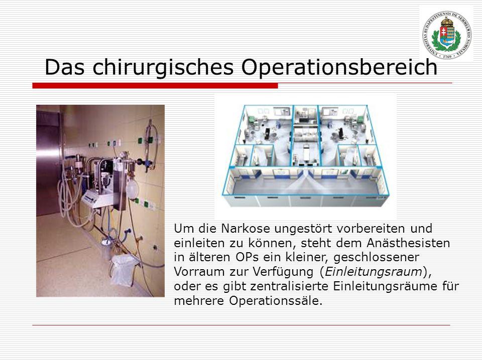 Das chirurgisches Operationsbereich Um die Narkose ungestört vorbereiten und einleiten zu können, steht dem Anästhesisten in älteren OPs ein kleiner,