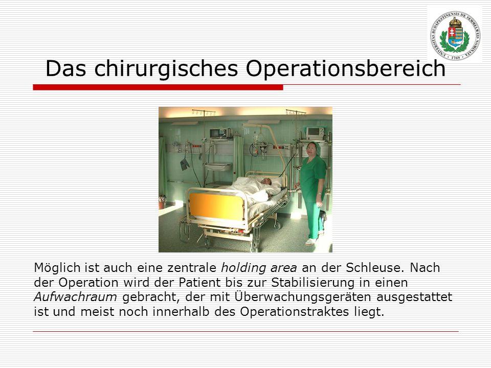Das chirurgisches Operationsbereich Möglich ist auch eine zentrale holding area an der Schleuse. Nach der Operation wird der Patient bis zur Stabilisi