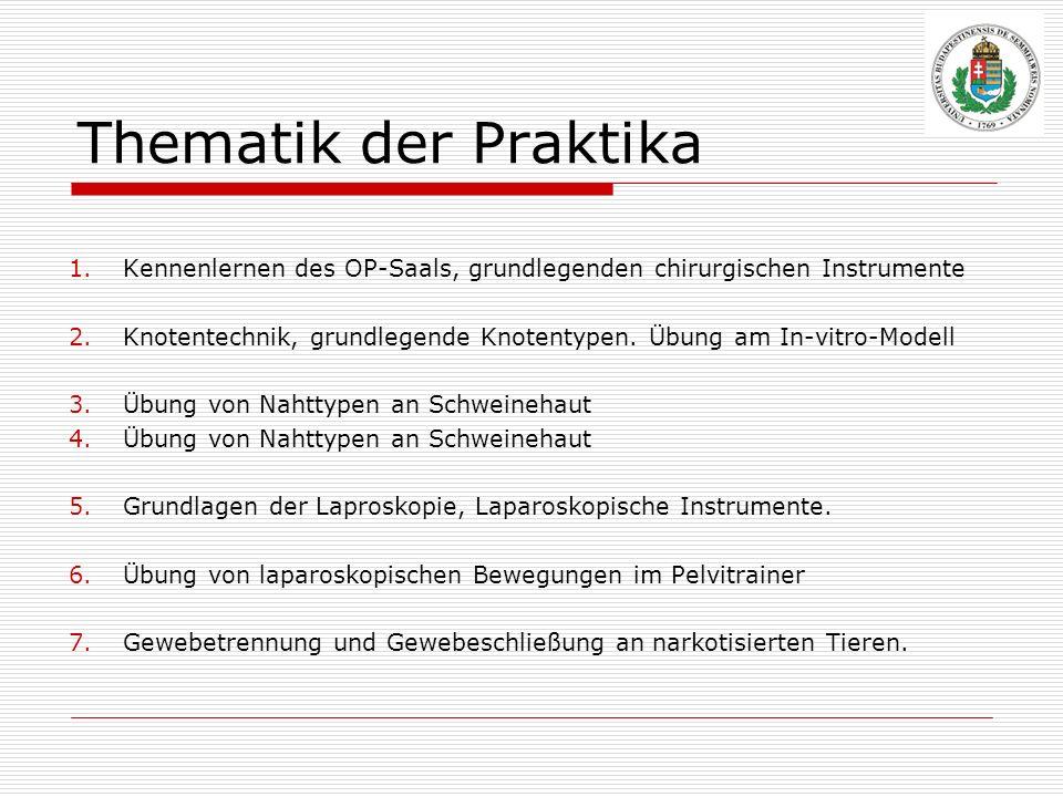 Thematik der Praktika 1.Kennenlernen des OP-Saals, grundlegenden chirurgischen Instrumente 2.Knotentechnik, grundlegende Knotentypen. Übung am In-vitr