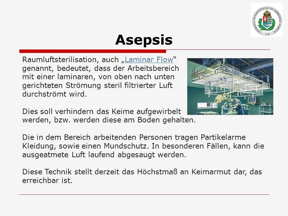 Asepsis Raumluftsterilisation, auch Laminar FlowLaminar Flow genannt, bedeutet, dass der Arbeitsbereich mit einer laminaren, von oben nach unten geric