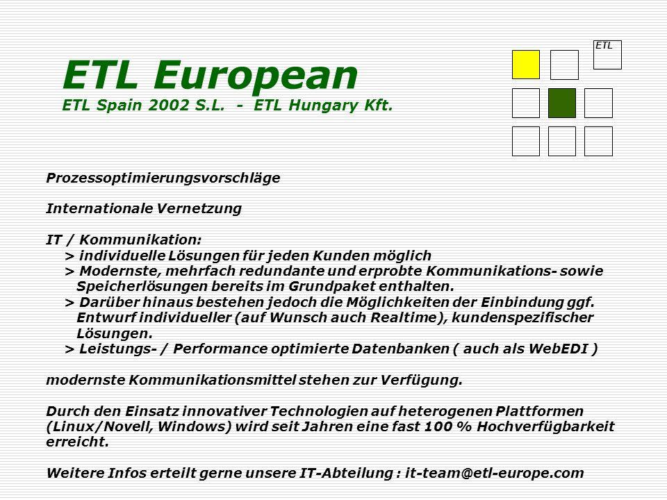 ETL Prozessoptimierungsvorschläge Internationale Vernetzung IT / Kommunikation: > individuelle Lösungen für jeden Kunden möglich > Modernste, mehrfach redundante und erprobte Kommunikations- sowie Speicherlösungen bereits im Grundpaket enthalten.