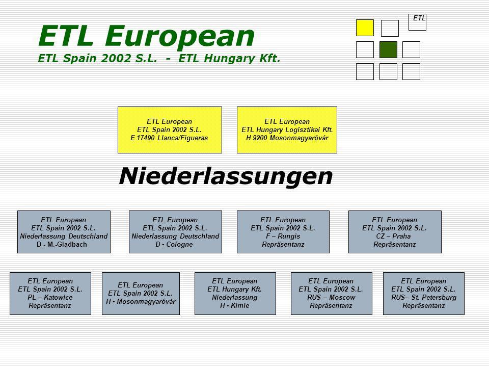 Niederlassungen ETL European ETL Spain 2002 S.L. E 17490 Llanca/Figueras ETL European ETL Spain 2002 S.L. Niederlassung Deutschland D - M.-Gladbach ET