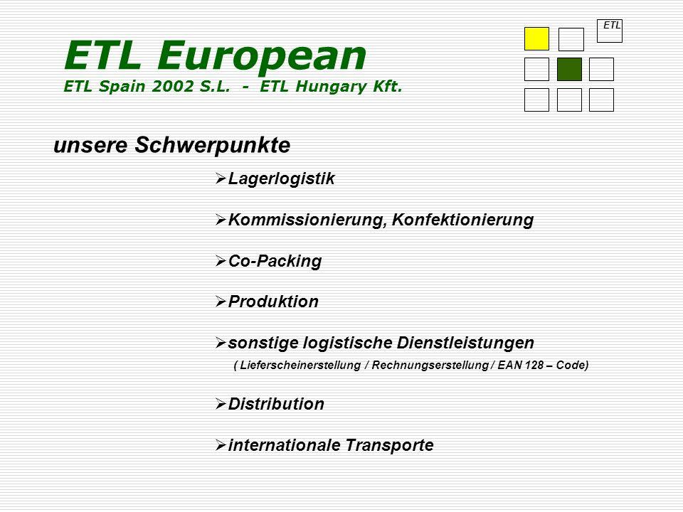 unsere Schwerpunkte ETL Lagerlogistik Kommissionierung, Konfektionierung Co-Packing Produktion sonstige logistische Dienstleistungen ( Lieferscheinerstellung / Rechnungserstellung / EAN 128 – Code) Distribution internationale Transporte ETL European ETL Spain 2002 S.L.