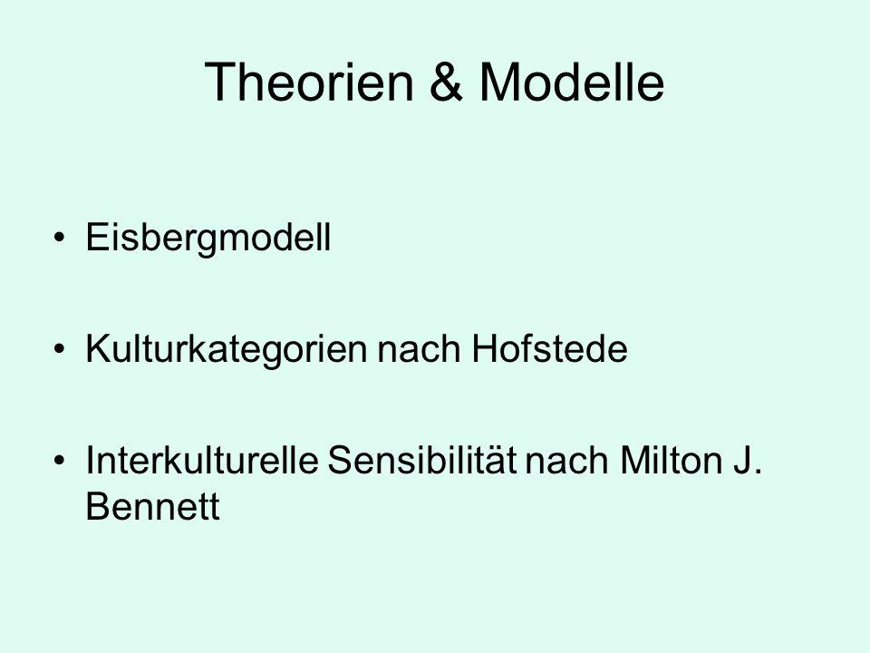 Theorien & Modelle Eisbergmodell Kulturkategorien nach Hofstede Interkulturelle Sensibilität nach Milton J.