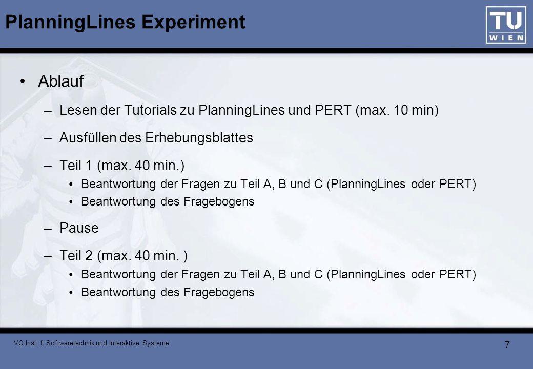 VO Inst. f. Softwaretechnik und Interaktive Systeme 7 PlanningLines Experiment Ablauf –Lesen der Tutorials zu PlanningLines und PERT (max. 10 min) –Au
