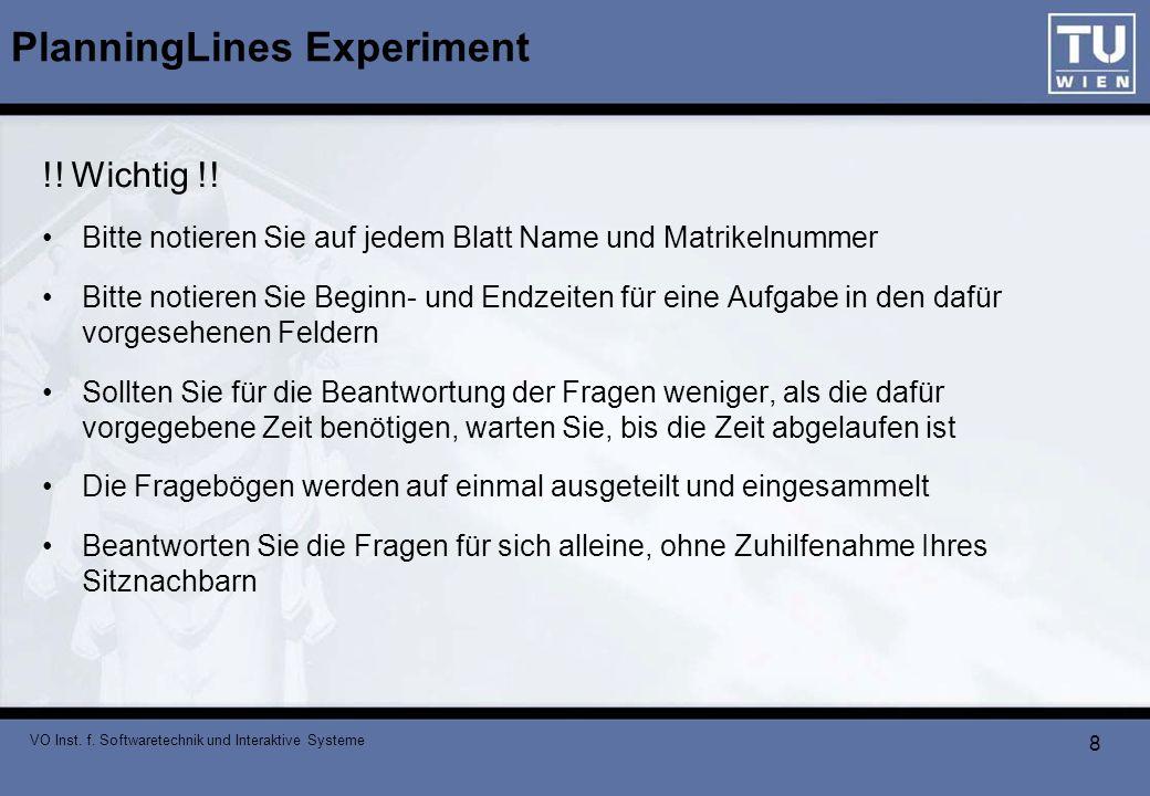 VO Inst. f. Softwaretechnik und Interaktive Systeme 8 PlanningLines Experiment !! Wichtig !! Bitte notieren Sie auf jedem Blatt Name und Matrikelnumme