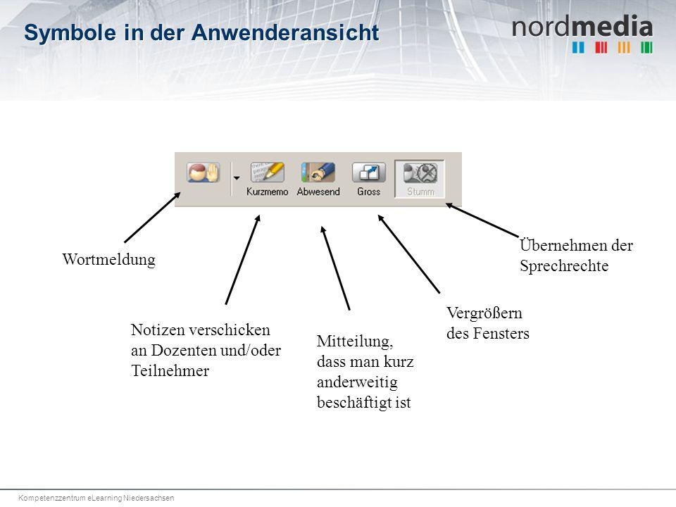 Kompetenzzentrum eLearning Niedersachsen Symbole in der Anwenderansicht Wortmeldung Notizen verschicken an Dozenten und/oder Teilnehmer Mitteilung, dass man kurz anderweitig beschäftigt ist Vergrößern des Fensters Übernehmen der Sprechrechte