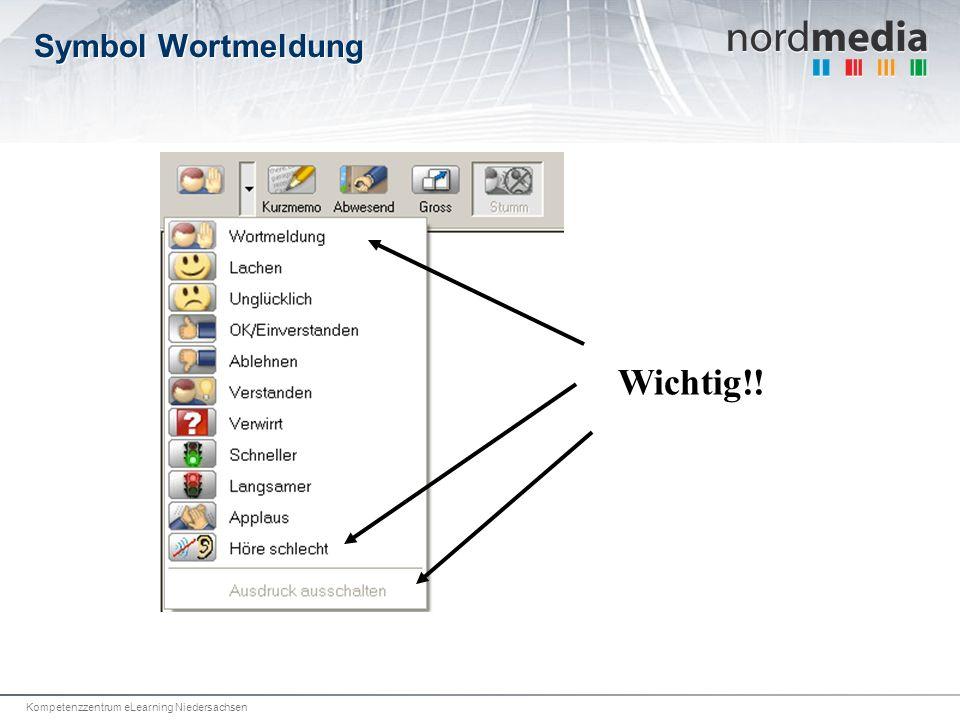 Kompetenzzentrum eLearning Niedersachsen Symbol Wortmeldung Wichtig!!