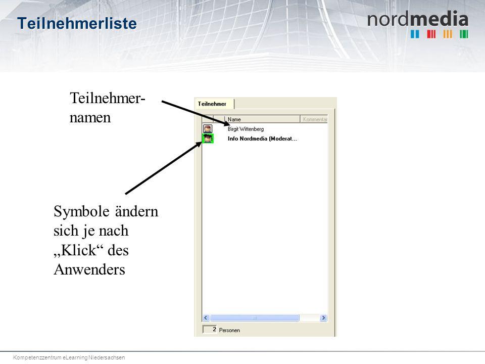 Kompetenzzentrum eLearning Niedersachsen Teilnehmerliste Symbole ändern sich je nach Klick des Anwenders Teilnehmer- namen