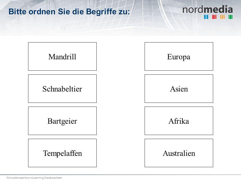 Kompetenzzentrum eLearning Niedersachsen Bitte ordnen Sie die Begriffe zu: Mandrill Bartgeier SchnabeltierAsien Europa AustralienTempelaffen Afrika