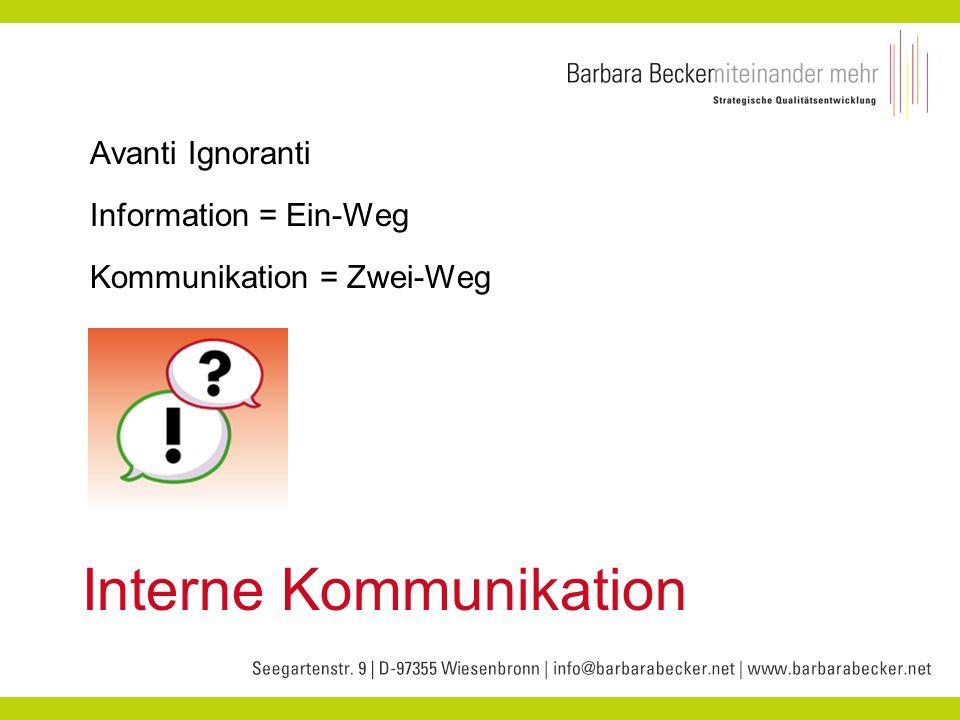 Interne Kommunikation Avanti Ignoranti Information = Ein-Weg Kommunikation = Zwei-Weg
