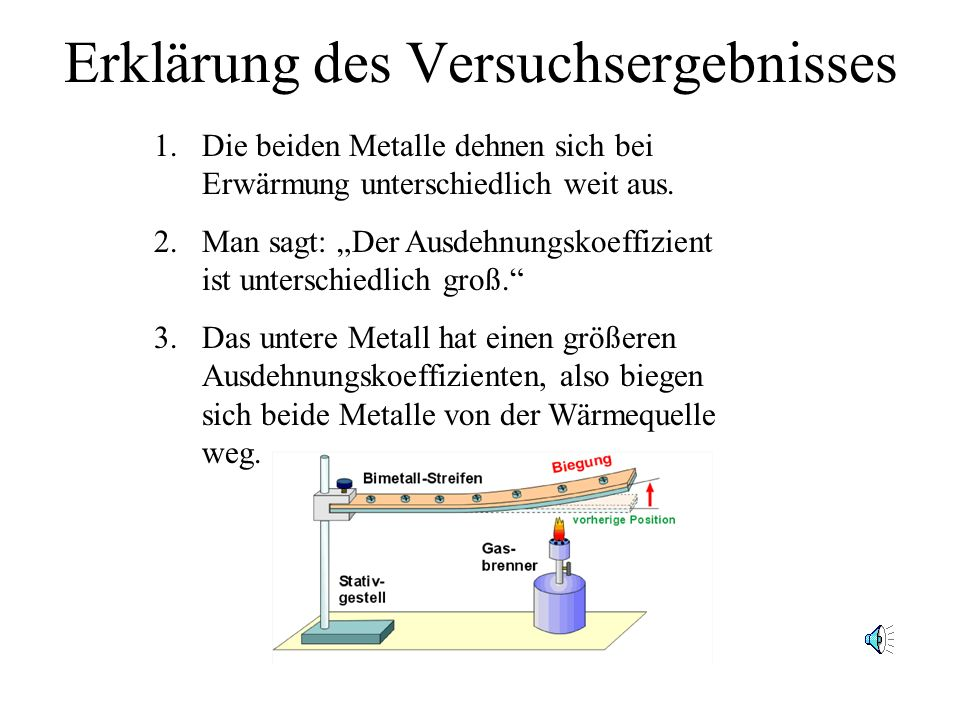 Erklärung des Versuchsergebnisses 1.Die beiden Metalle dehnen sich bei Erwärmung unterschiedlich weit aus.
