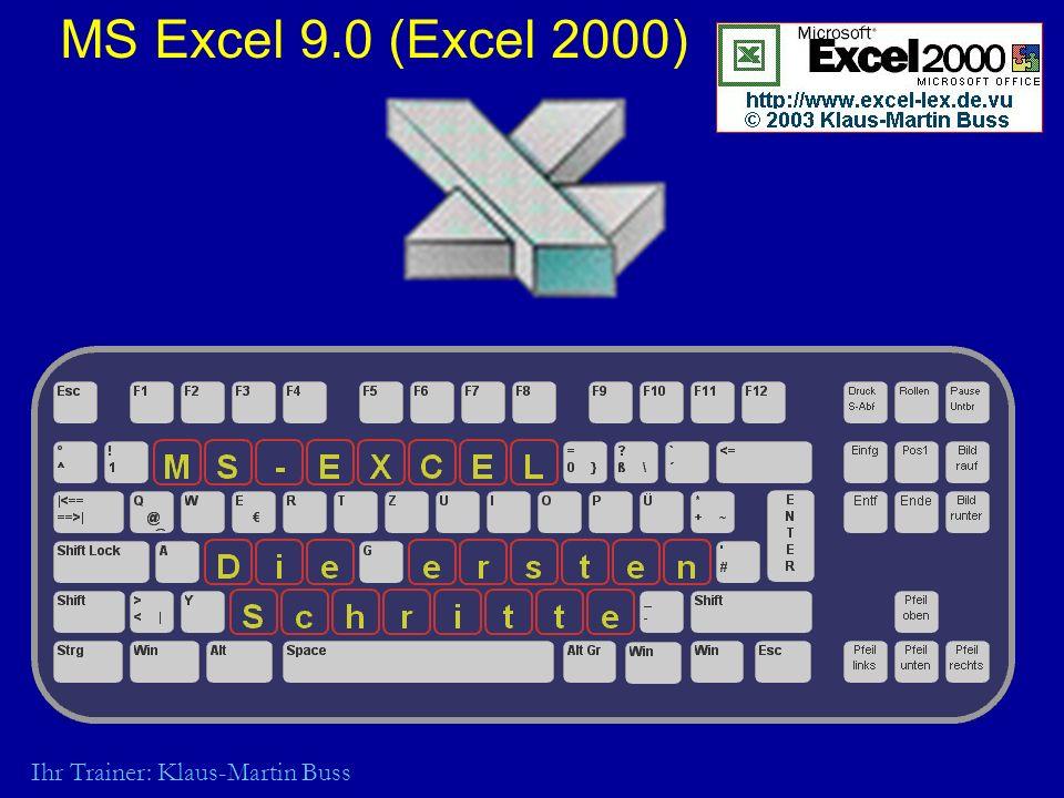 MS Excel 9.0 (Excel 2000) Ihr Trainer: Klaus-Martin Buss