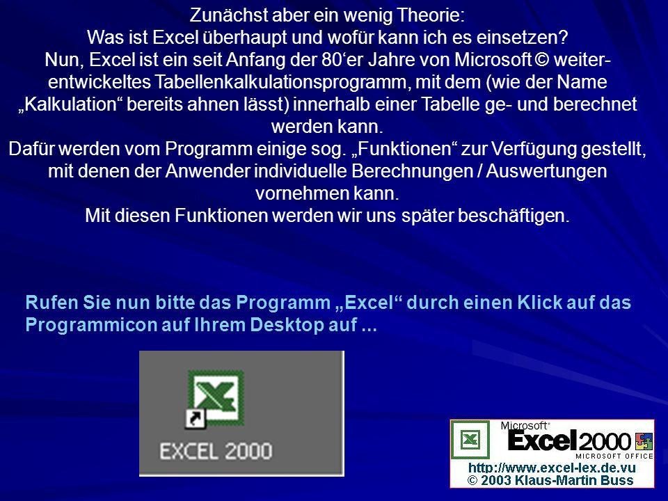 Zunächst aber ein wenig Theorie: Was ist Excel überhaupt und wofür kann ich es einsetzen? Nun, Excel ist ein seit Anfang der 80er Jahre von Microsoft