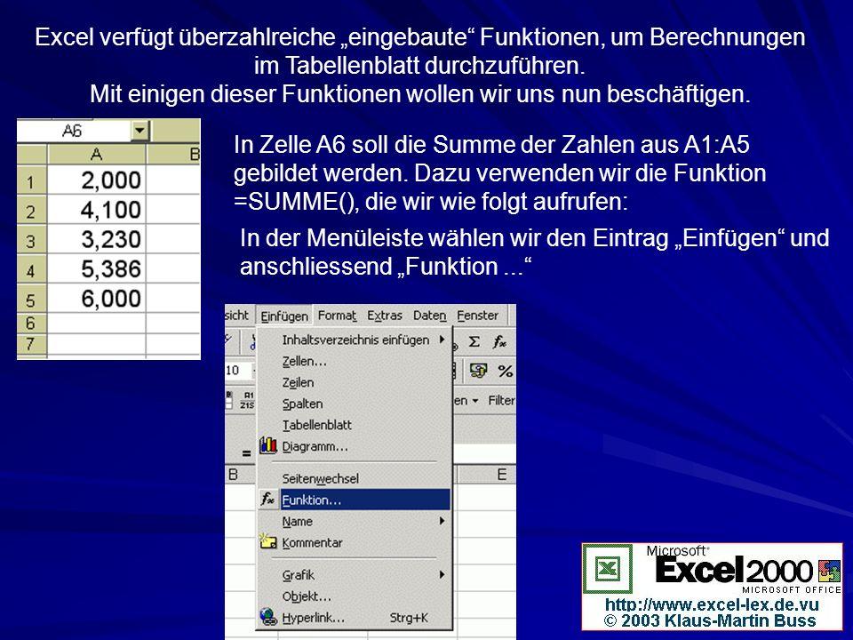 Excel verfügt überzahlreiche eingebaute Funktionen, um Berechnungen im Tabellenblatt durchzuführen. Mit einigen dieser Funktionen wollen wir uns nun b
