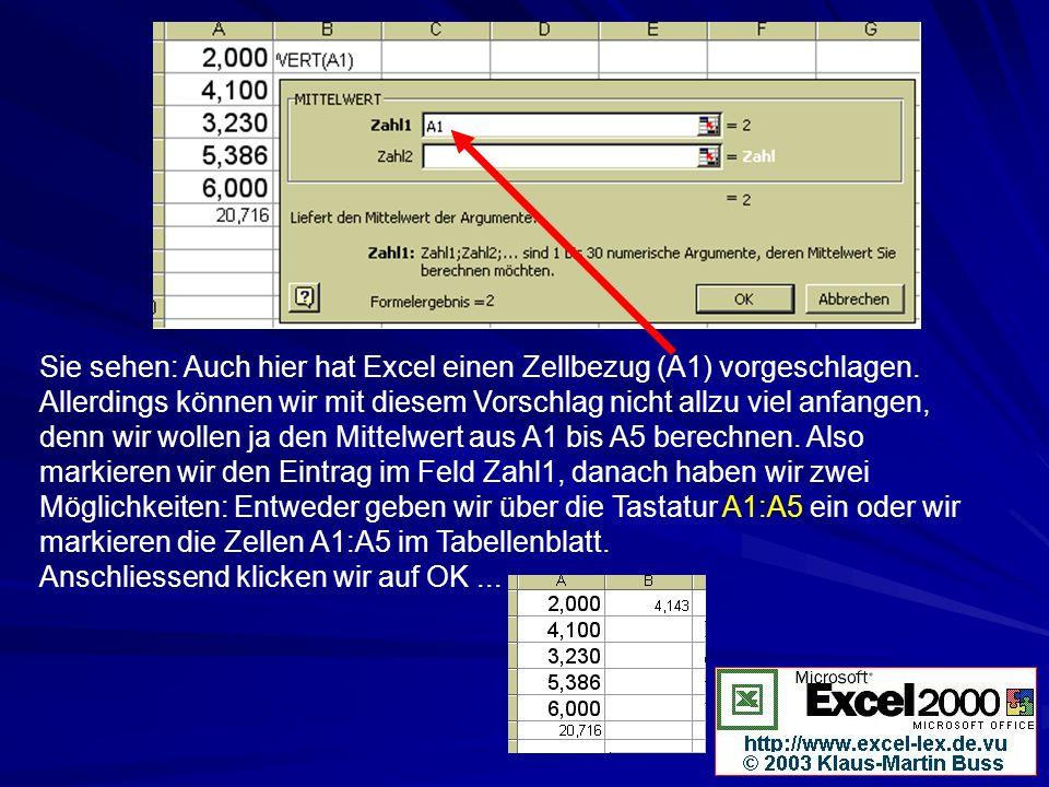 Sie sehen: Auch hier hat Excel einen Zellbezug (A1) vorgeschlagen. Allerdings können wir mit diesem Vorschlag nicht allzu viel anfangen, denn wir woll