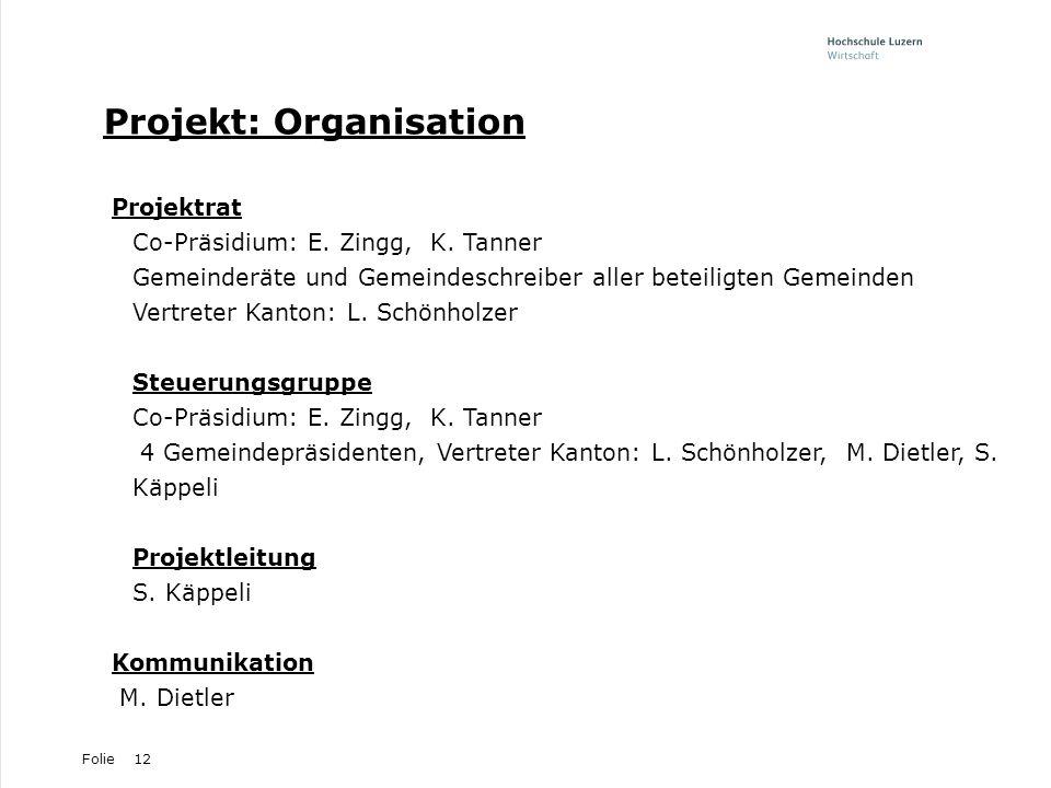 Folie12 Projekt: Organisation Projektrat Co-Präsidium: E. Zingg, K. Tanner Gemeinderäte und Gemeindeschreiber aller beteiligten Gemeinden Vertreter Ka