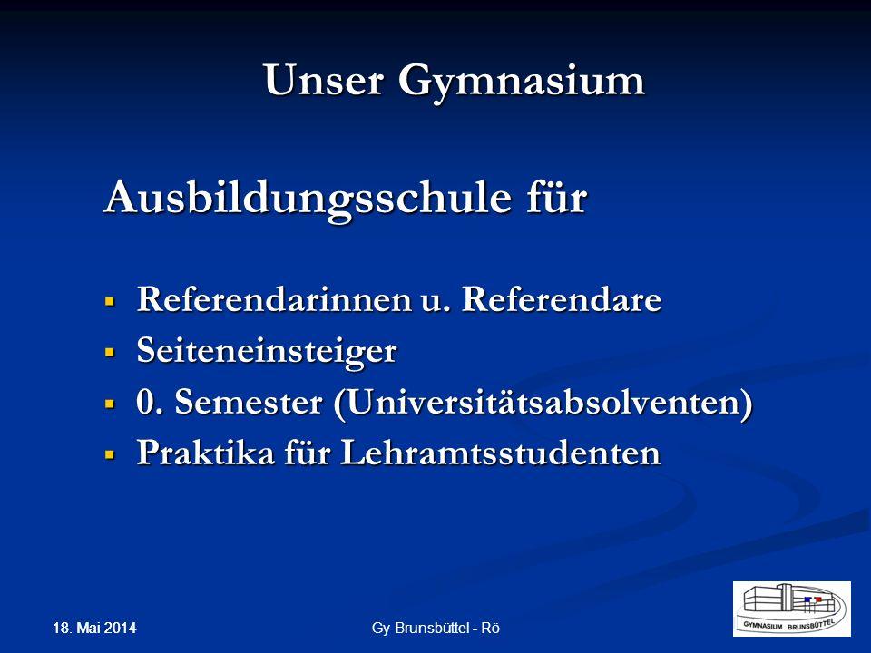 Unser Gymnasium Ausbildungsschule für Referendarinnen u. Referendare Referendarinnen u. Referendare Seiteneinsteiger Seiteneinsteiger 0. Semester (Uni