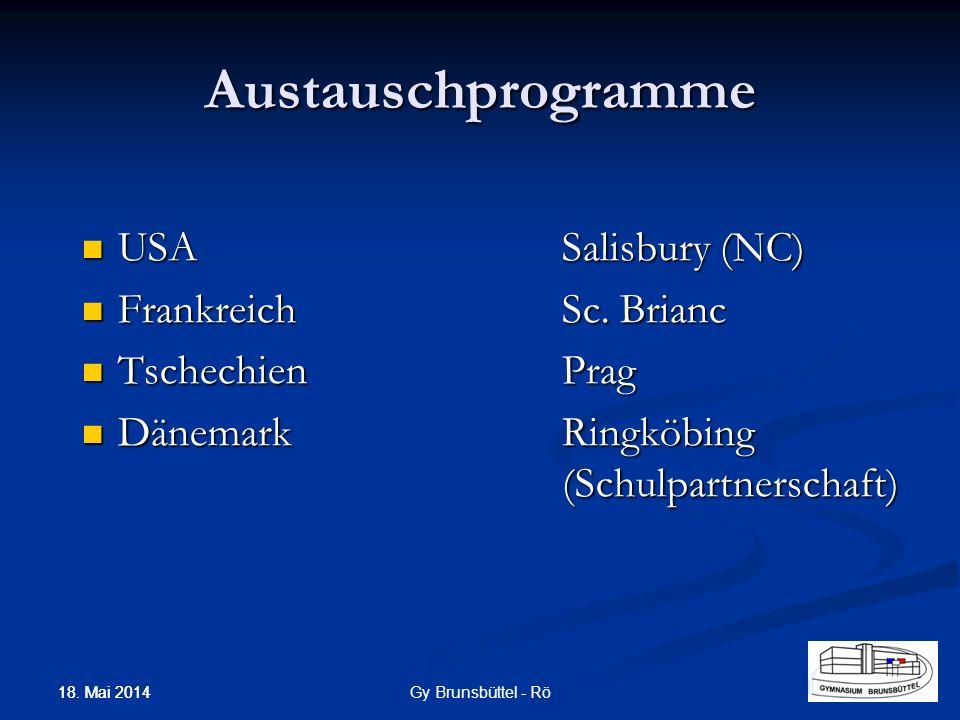 Austauschprogramme USASalisbury (NC) USASalisbury (NC) FrankreichSc.