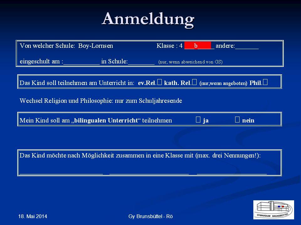 Anmeldung Gy Brunsbüttel - Rö 18. Mai 2014