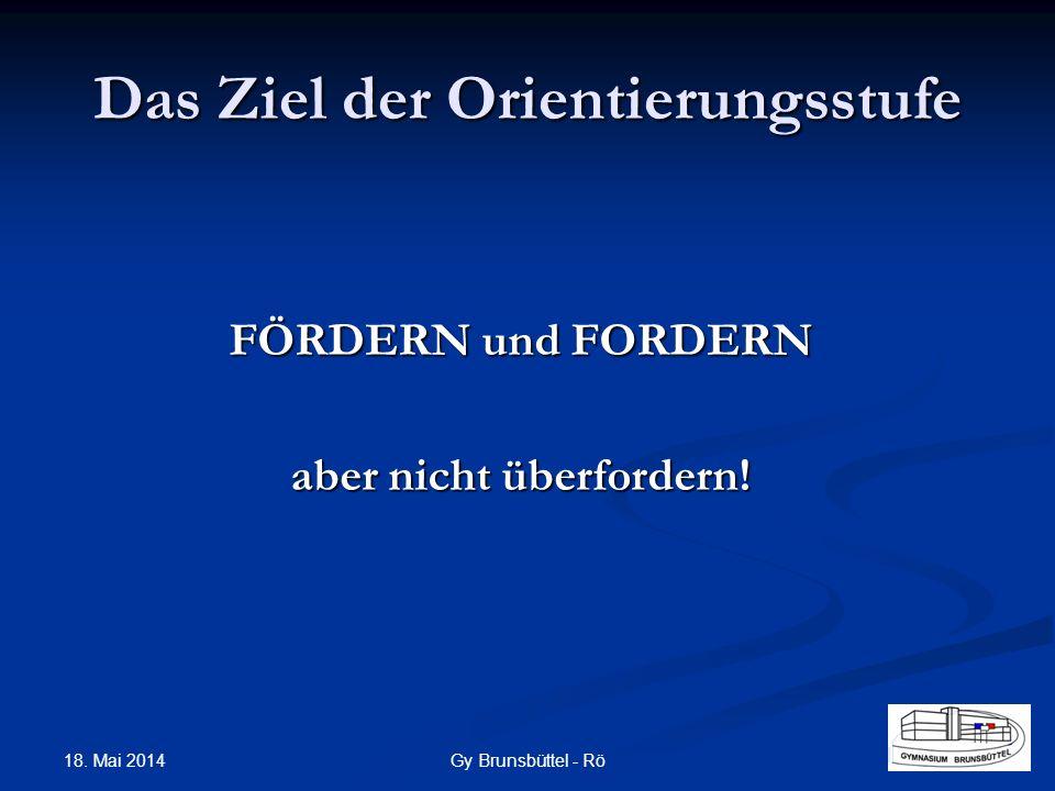 Das Ziel der Orientierungsstufe FÖRDERN und FORDERN aber nicht überfordern! Gy Brunsbüttel - Rö 18. Mai 2014