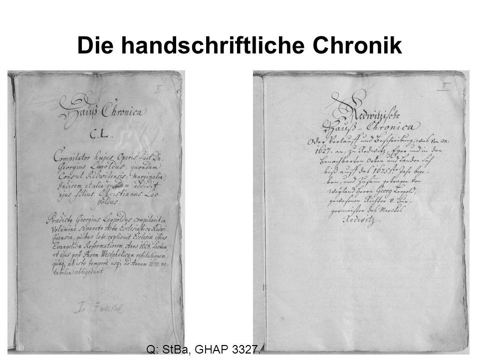 Die handschriftliche Chronik Q: StBa, GHAP 3327.