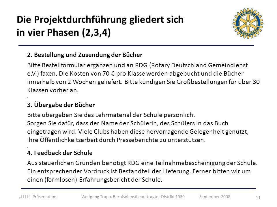 11 2. Bestellung und Zusendung der Bücher Bitte Bestellformular ergänzen und an RDG (Rotary Deutschland Gemeindienst e.V.) faxen. Die Kosten von 70 pr