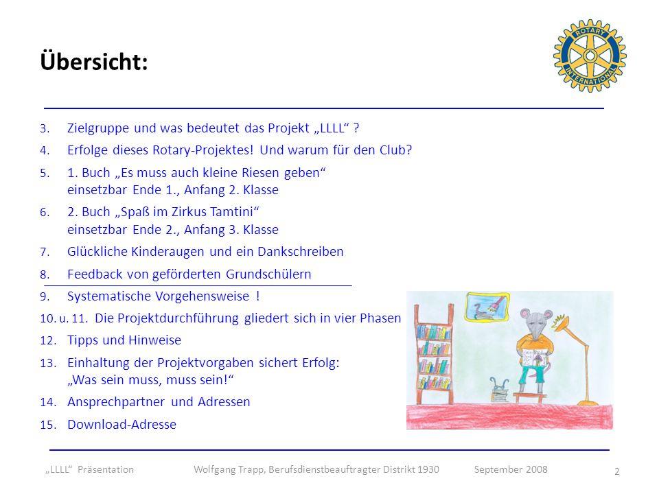 2 3. Zielgruppe und was bedeutet das Projekt LLLL ? 4. Erfolge dieses Rotary-Projektes! Und warum für den Club? 5. 1. Buch Es muss auch kleine Riesen