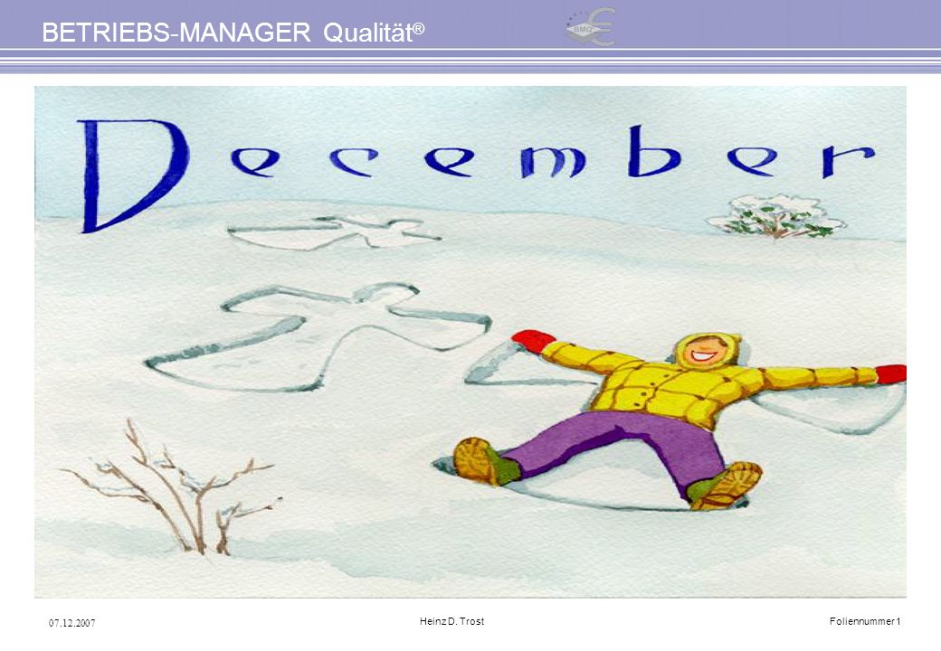 07.12.2007 BETRIEBS-MANAGER Qualität ® Heinz D. TrostFoliennummer 1