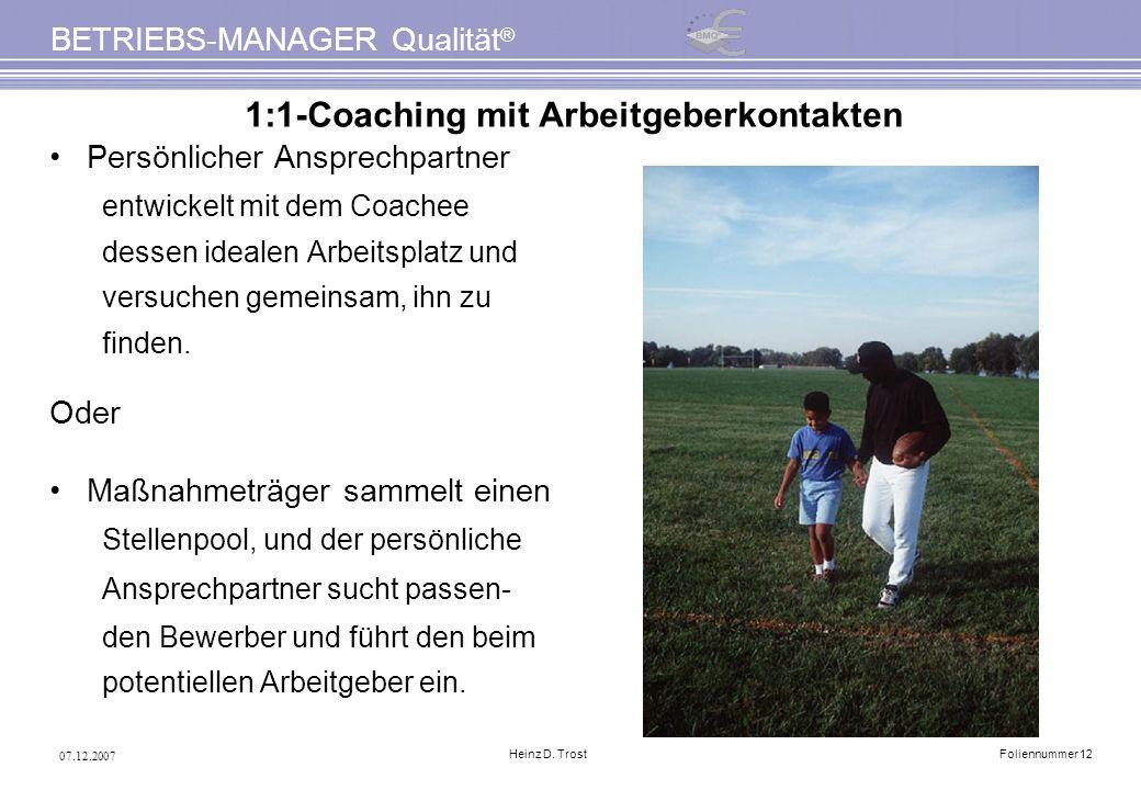 07.12.2007 BETRIEBS-MANAGER Qualität ® Heinz D. TrostFoliennummer 12 1:1-Coaching mit Arbeitgeberkontakten Persönlicher Ansprechpartner entwickelt mit