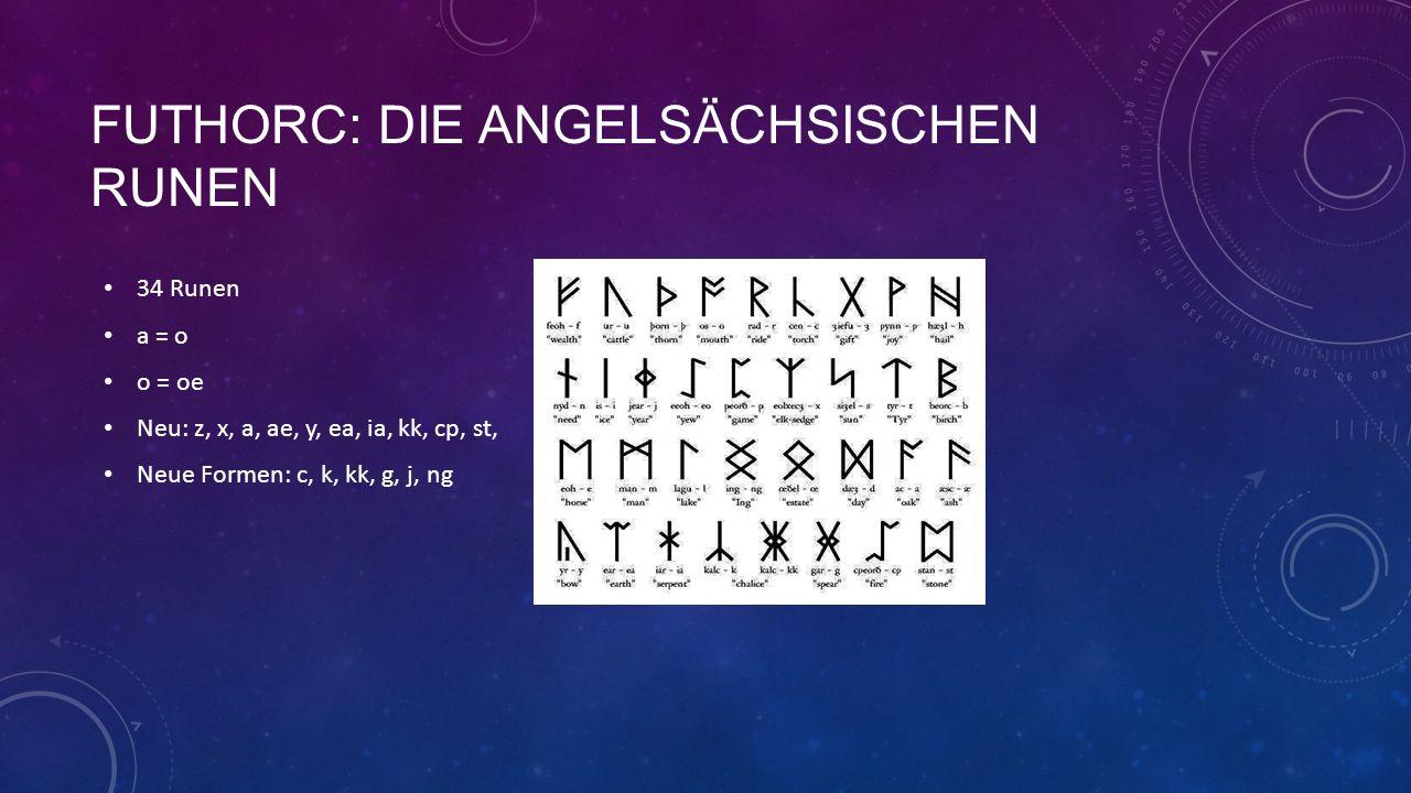 FUTHORC: DIE ANGELSÄCHSISCHEN RUNEN 34 Runen a = o o = oe Neu: z, x, a, ae, y, ea, ia, kk, cp, st, Neue Formen: c, k, kk, g, j, ng