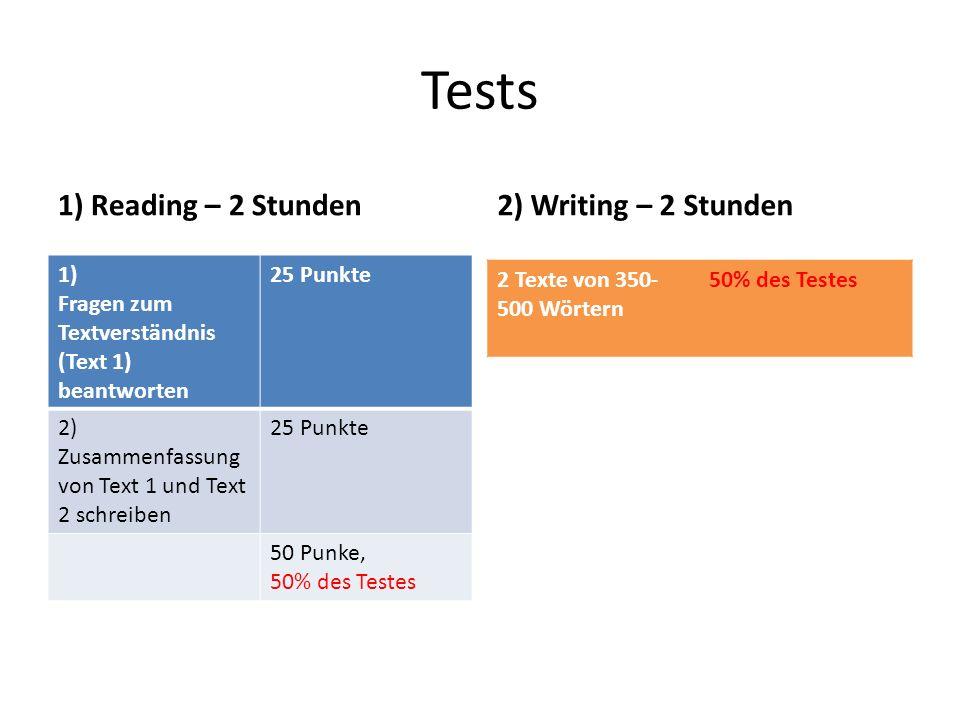 Tests 1) Reading – 2 Stunden2) Writing – 2 Stunden 1) Fragen zum Textverständnis (Text 1) beantworten 25 Punkte 2) Zusammenfassung von Text 1 und Text