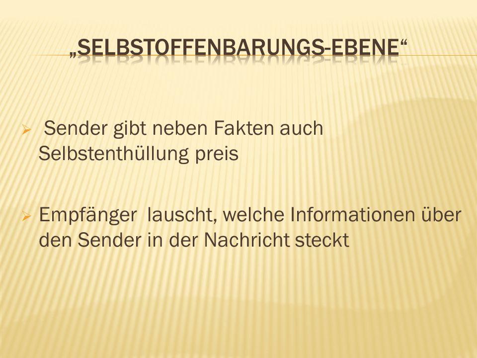 Sender gibt neben Fakten auch Selbstenthüllung preis Empfänger lauscht, welche Informationen über den Sender in der Nachricht steckt