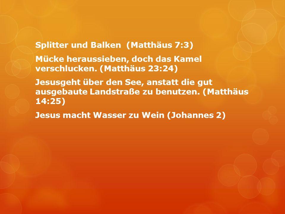 Splitter und Balken (Matthäus 7:3) Mücke heraussieben, doch das Kamel verschlucken. (Matthäus 23:24) Jesusgeht über den See, anstatt die gut ausgebaut