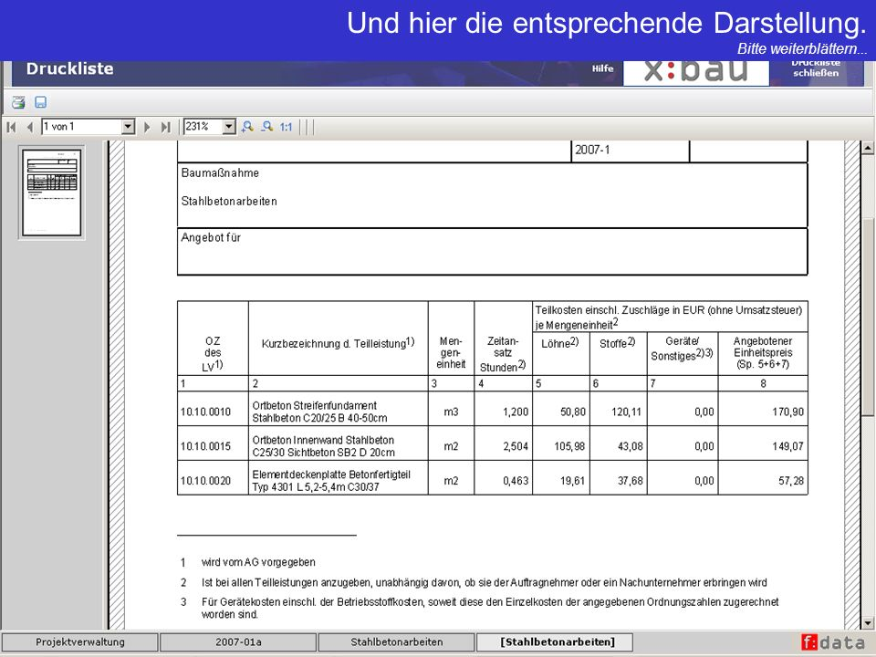 Ein weiteres x:bau Highlight: Automatische Erstellung aller EFB Preis.