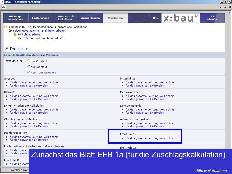 Zunächst das Blatt EFB 1a (für die Zuschlagskalkulation) Bitte weiterblättern...