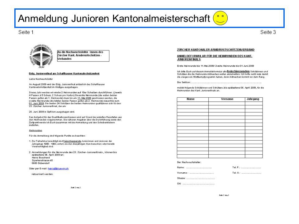 Anmeldung Junioren Kantonalmeisterschaft Seite 1Seite 3