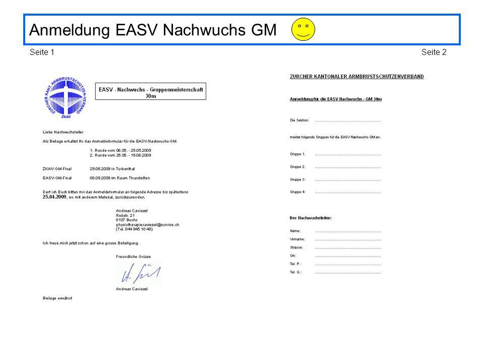Anmeldung EASV Nachwuchs GM Seite 1Seite 2