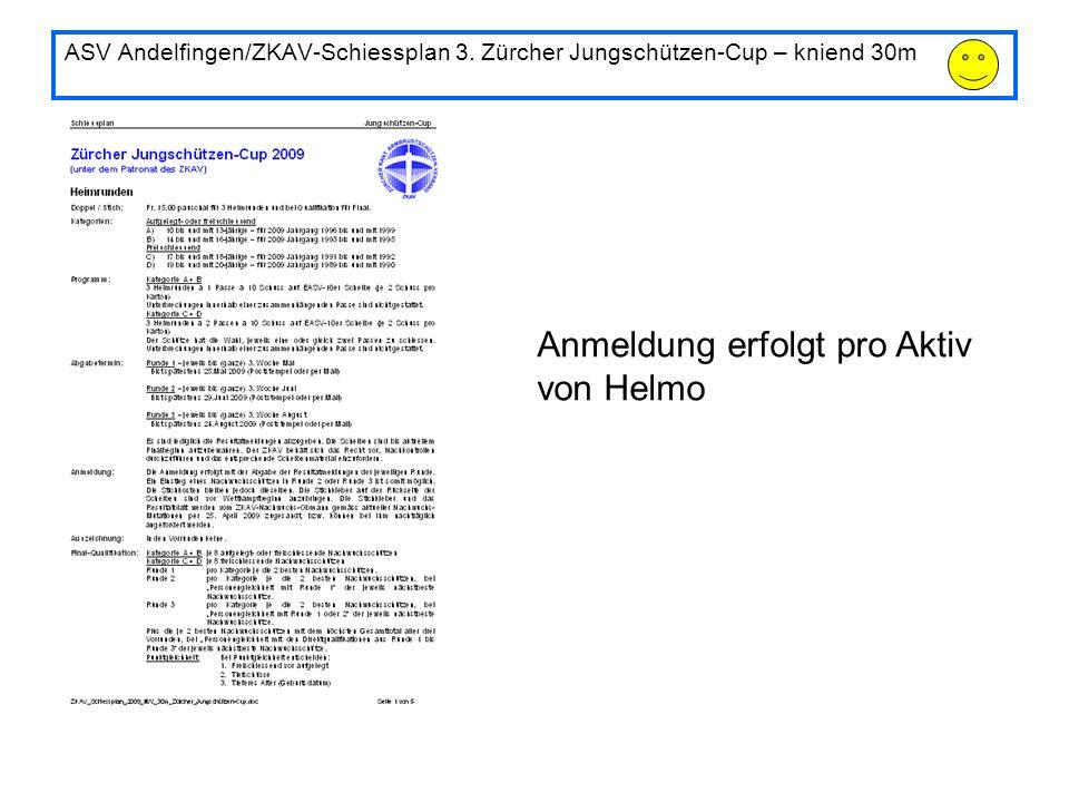 ASV Andelfingen/ZKAV-Schiessplan 3. Zürcher Jungschützen-Cup – kniend 30m Anmeldung erfolgt pro Aktiv von Helmo