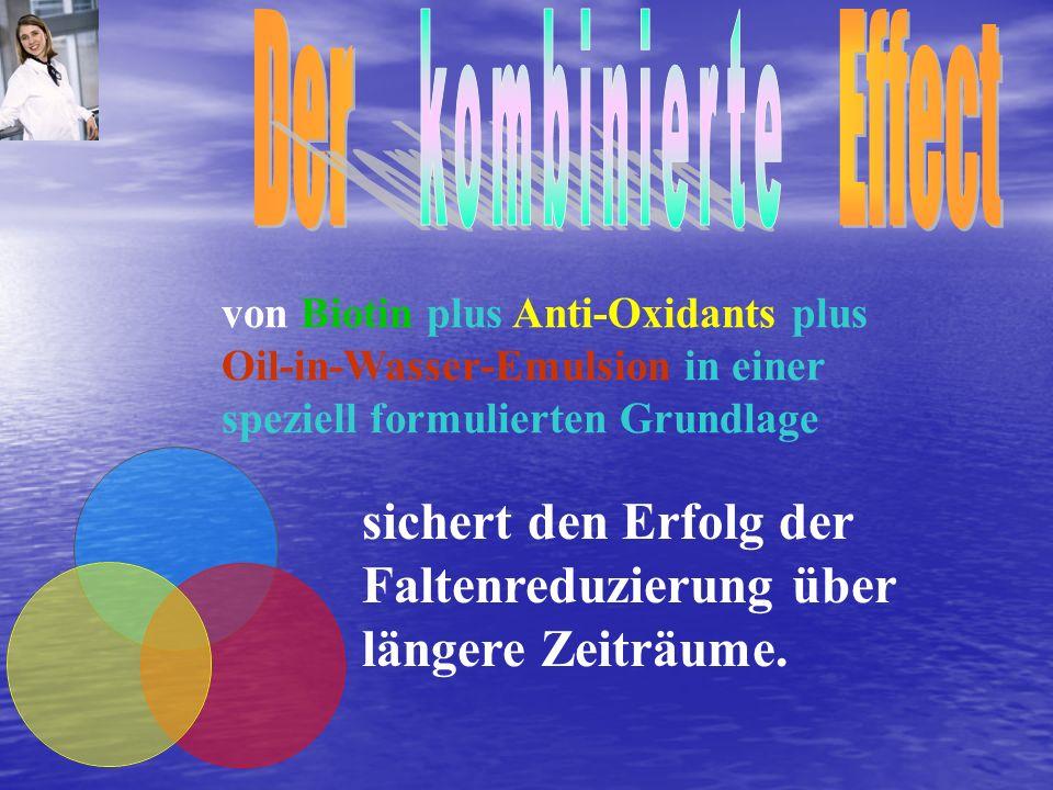 von Biotin plus Anti-Oxidants plus Oil-in-Wasser-Emulsion in einer speziell formulierten Grundlage sichert den Erfolg der Faltenreduzierung über länge