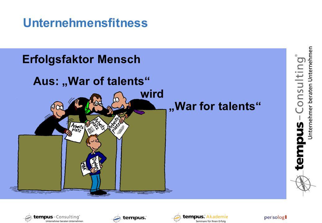 Unternehmensfitness Aus: War of talents wird War for talents Erfolgsfaktor Mensch