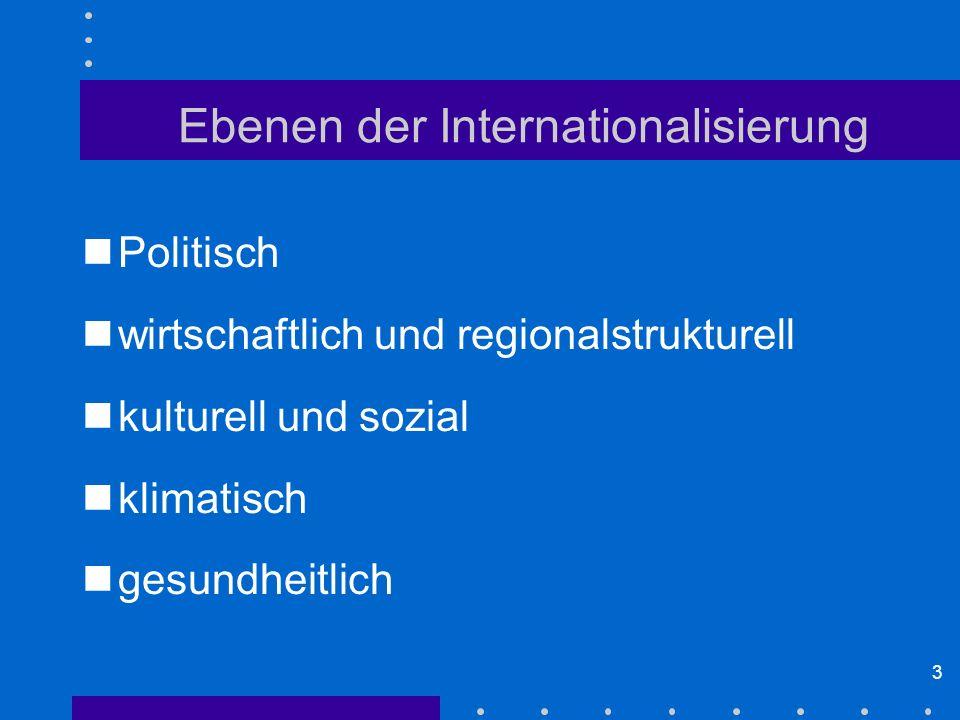 3 Ebenen der Internationalisierung Politisch wirtschaftlich und regionalstrukturell kulturell und sozial klimatisch gesundheitlich