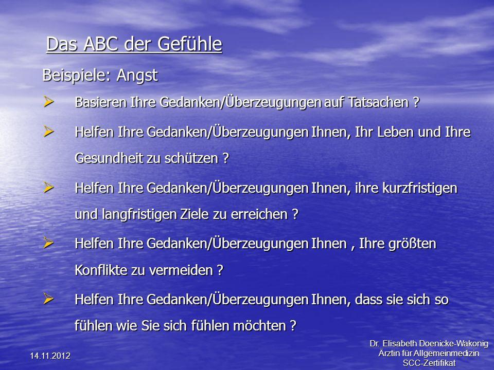 14.11.2012 Das ABC der Gefühle Beispiele: Angst Basieren Ihre Gedanken/Überzeugungen auf Tatsachen ? Basieren Ihre Gedanken/Überzeugungen auf Tatsache