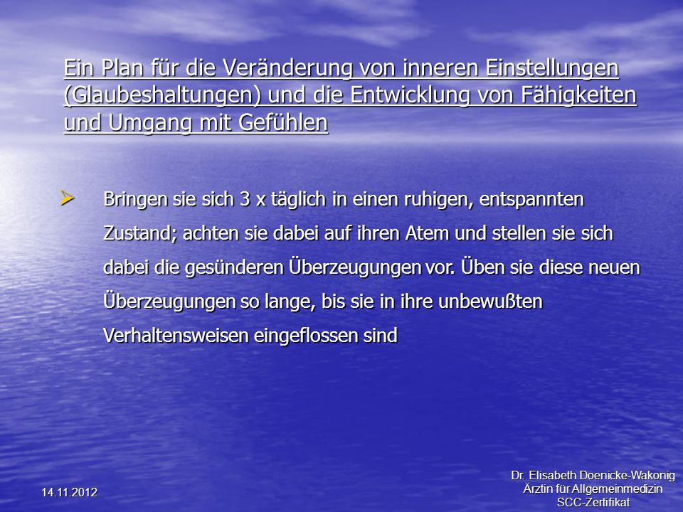14.11.2012 Ein Plan für die Veränderung von inneren Einstellungen (Glaubeshaltungen) und die Entwicklung von Fähigkeiten und Umgang mit Gefühlen Bring