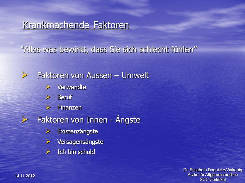 14.11.2012 Krankmachende Faktoren Alles was bewirkt, dass Sie sich schlecht fühlen Faktoren von Aussen – Umwelt Faktoren von Aussen – Umwelt Verwandte