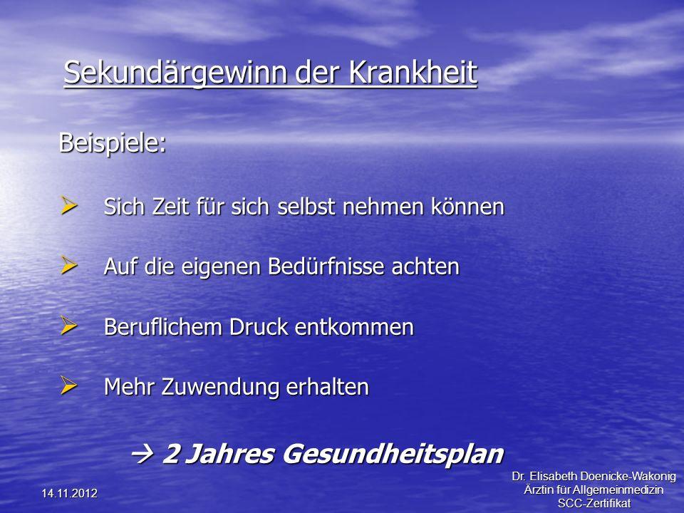 14.11.2012 Sekundärgewinn der Krankheit Beispiele: Sich Zeit für sich selbst nehmen können Sich Zeit für sich selbst nehmen können Auf die eigenen Bed