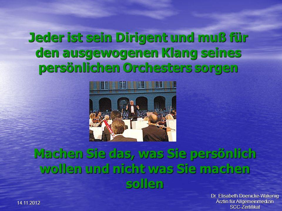 14.11.2012 Jeder ist sein Dirigent und muß für den ausgewogenen Klang seines persönlichen Orchesters sorgen Machen Sie das, was Sie persönlich wollen