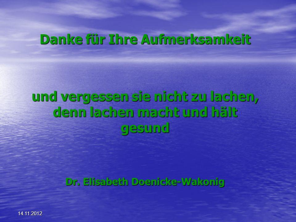 14.11.2012 Danke für Ihre Aufmerksamkeit und vergessen sie nicht zu lachen, denn lachen macht und hält gesund Dr. Elisabeth Doenicke-Wakonig